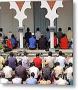 Worshipers At Friday Prayers - Masjid Jame - Friday Mosque - Kuala Lumpur - Malaysia Metal Print