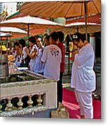 Worshippers In Front Of The Royal Temple  At Grand Palace Of Tha Metal Print