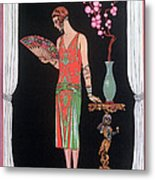Worth Evening Dress Fashion Plate From Gazette Du Bon Ton Metal Print
