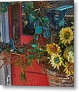 Wreath And The Red Door Metal Print