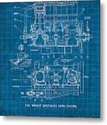 Wright Brothers Aero Engine Vintage Patent Blueprint Metal Print