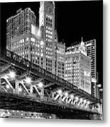 Wrigley Building At Night In Black And White Metal Print