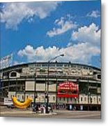Wrigley Field And Clouds Metal Print