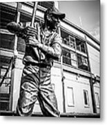 Wrigley Field Ernie Banks Statue In Black And White Metal Print by Paul Velgos