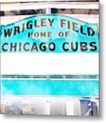 Wrigley Field Sign - X-ray Metal Print