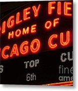 Wrigley Field Sign At Night Metal Print by Paul Velgos