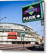 Wrigleyville Sign And Wrigley Field In Chicago Metal Print by Paul Velgos
