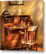 Writer - A Chair And A Desk Metal Print by Mike Savad