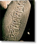 writing on the Tibetan language and Sanskrit at stone Metal Print