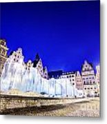 Wroclaw Poland The Market Square And The Famous Fountain At Night Metal Print