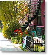 Wrought Iron Fence Balcony And Staircases Verdun Stairs Summer Scenes Carole Spandau  Metal Print