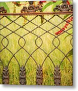 Wrought Iron With Red And Green Metal Print