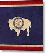 Wyoming State Flag Art On Worn Canvas Metal Print