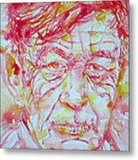 Wystan Auden  Watercolor Portrait Metal Print