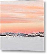 X-country Skier On Lake Laberge Metal Print