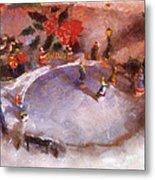 Xmas Skating Rink Photo Art Metal Print