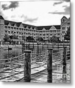 Yacht And Beach Club After The Rain In Black And White Walt Disney World Metal Print