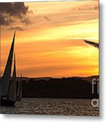 Yacht And Seagull Sunset Metal Print