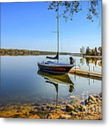 Yacht At The Little Manitou Lake Metal Print