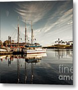 Yacht At The Pier On A Sunny Day Metal Print