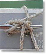 Yacht Secured To A Jetty  Metal Print