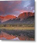 Yamnuska And Reflection  Metal Print