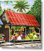 Yangon Fruitstand Metal Print