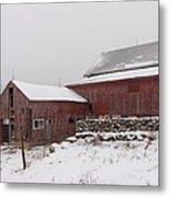 Yankee Farmlands No 19 - Winter Snow And New England Barn Metal Print