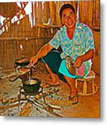 Yao Mien Tribe Man In His Home With His Cooking Pot North Of Chiang Rai In Mae Salong-thailand  Metal Print