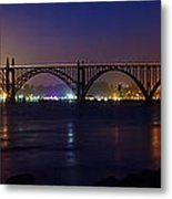 Yaquina Bay Bridge At Night Metal Print