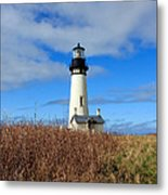 Yaquina Bay Lighthouse In Oregon Metal Print