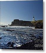 Yaquina Lighthouse And Beach No 1 Metal Print