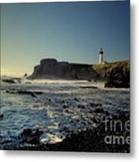 Yaquina Lighthouse And Beach No 2 Metal Print