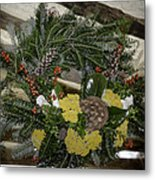 Yarrow And Lotus Wreath Squared Metal Print