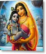 Yashoda And  Krishna Metal Print
