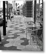 Ybor City Sidewalk - Black And White Metal Print