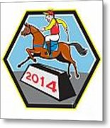 Year Of Horse 2014 Jockey Jumping Cartoon Metal Print