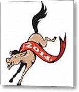 Year Of Horse 2014 Jumping Cartoon Metal Print by Aloysius Patrimonio