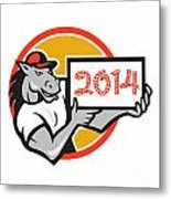 Year Of Horse 2014 Showing Sign Cartoon Metal Print by Aloysius Patrimonio
