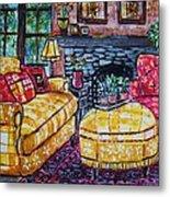 Yello Sofa Metal Print by Linda Vaughon