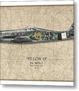 Yellow 10 Focke-wulf Fw190d - Map Background Metal Print by Craig Tinder