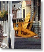 Yellow Adirondack Rocking Chairs Metal Print