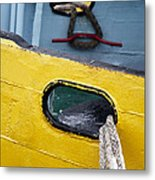 Yellow And Blue Boat Metal Print