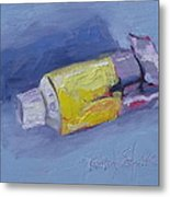 Yellow And Blue Metal Print by Kelley Smith
