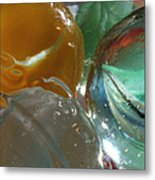 Yellow And Blue Marble Metal Print by Mary Bedy