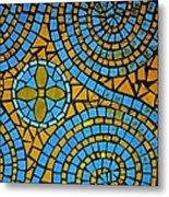Yellow And Blue Mosaic Metal Print