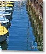 Yellow And Blue Sailboats From The Book My Ocean Metal Print by Artist and Photographer Laura Wrede