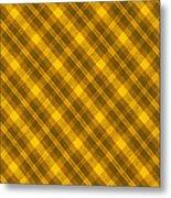 Yellow And Brown Diagonal Plaid Pattern Cloth Background Metal Print