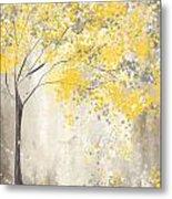 Yellow And Gray Tree Metal Print