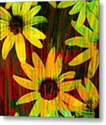Yellow And Green Daisy Design Metal Print